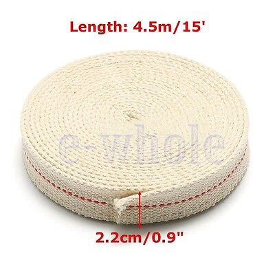 "7/8"" 2.2cm Flat Cotton Wick 15 foot roll Oil Lamp Wick and Lanterns Wick New BH"