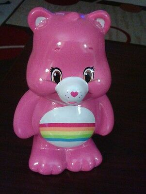 "Care Bears Rainbow Cheer Bear pink piggy coin Bank 8"" From F.A.B. Starpoint New"
