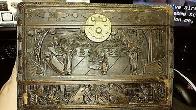 Aged Asian Carved Box with Pull Drawer Unknown Origin