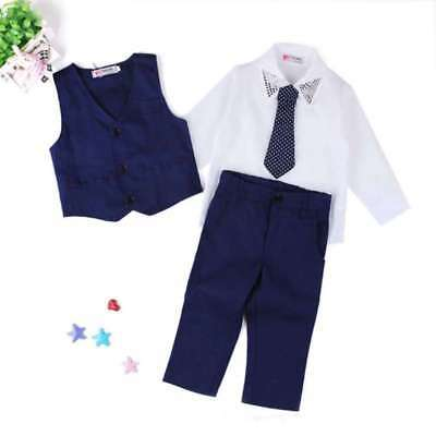 4pcs/set Baby Boys Dress Suit Vest + Shirt + Necktie +Pants Kids Clothes Outfits