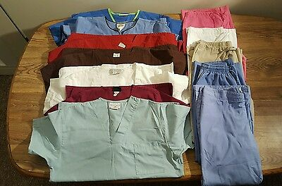 Lot of 12 Scrubs Size M Top Bottom Cherokee Urbane Cotton Scrubs & Co Peaches
