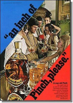 1968 An inch of Pinch Haig & Haig whiskey - Hip party photo-ad