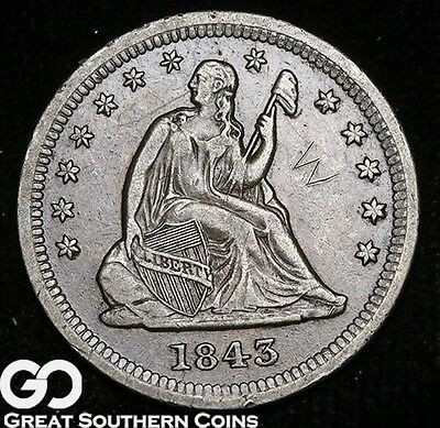 1843-O Seated Liberty Quarter, Choice XF Details, Tough Key Date, Free Shipping!