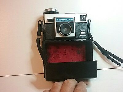 Vintage Kodak Instamatic X-25 camera with carrying case.