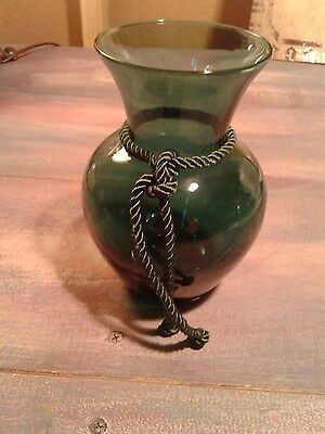 "Pilgrim Hand Blown Holley Green 6"" Vase With Cord With Original Label"
