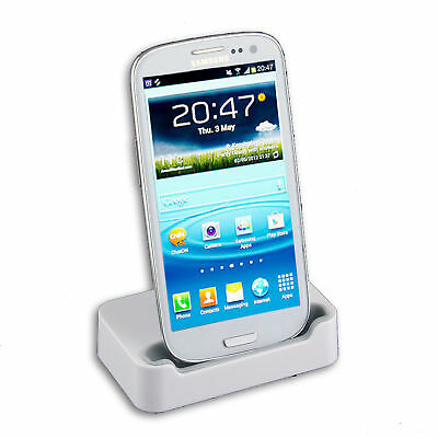 White USB Dock Charger Stand Station Cradle Samsung Galaxy S 3 i9300