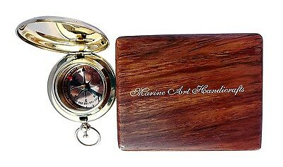 Handmade Brass Push Button Direction Compass Pocket Compss With Rose Wood Box