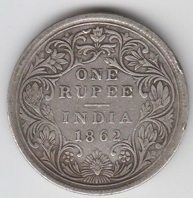Coin 1862 India silver 1 rupee Queen Victoria obverse