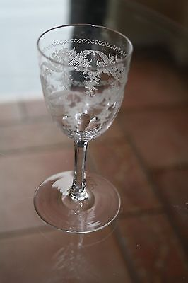 Antique Victorian Unusual Cut Glass Wine Glass Excellent