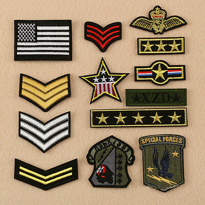 13 Embroidery Army Shoulder Strap Sew Iron On Patch Badge Bag Hat Jeans Applique
