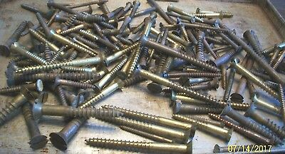 Nice !  Big Lot Of 4+ Lb. Of Large, Vintage Brass Slotted Flat Head Wood Screws
