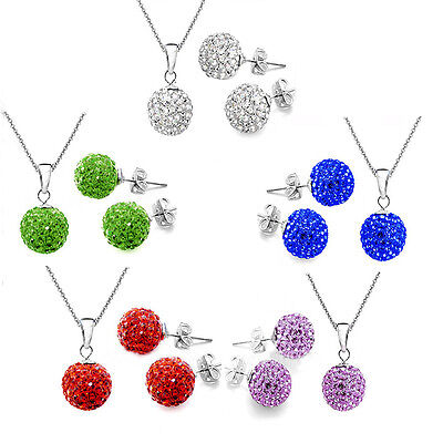 Crystal Jewelry Set Fashion Necklace bead Silver Stud Disco ball Earrings set