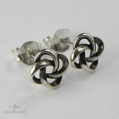Solid 925 Sterling Silver Stud Earrings / Ear Studs Celtic Knot New inc Gift Bag