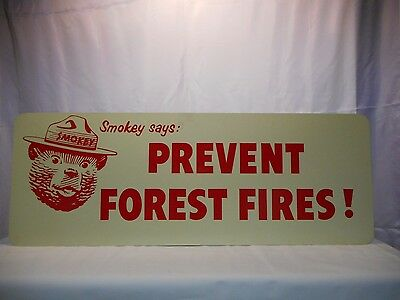 Vintage US Forest Service Smokey Bear Fire Truck tailgate sign. Original 1960s