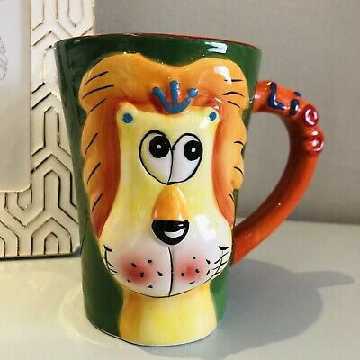 Large Colourful Ceramic Animal Mug with 3D Face and Large Handle 5169