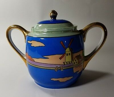 Windmill Sugar Bowl Blue / Gold Trim - Hand Painted Made In Japan - Meito China