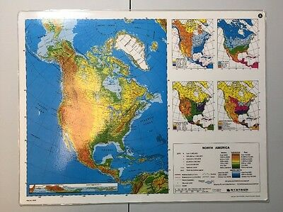 Vintage 1984 Laminated Nystrom North America Double Sided Map No. 2HG5.