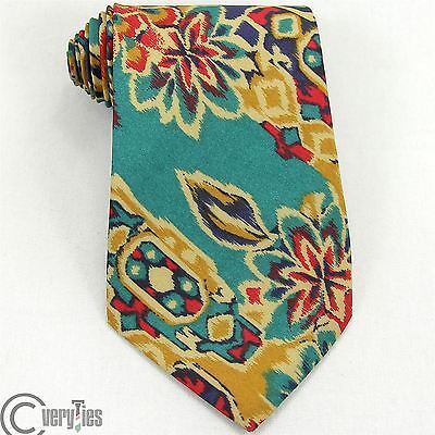 Cravatta JEAN CHARLEVAL Verde Rosso Floreale Poliestere Made in Italy Tie