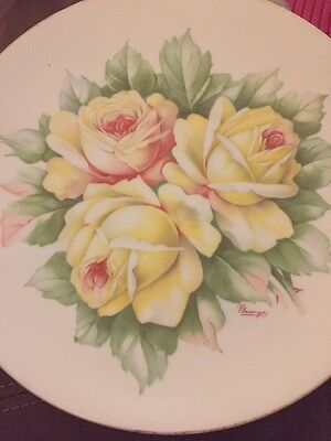 "O&EG Royal Austria Hand-Painted Signed ""Georges"" 9"" Yellow Rose Plate"