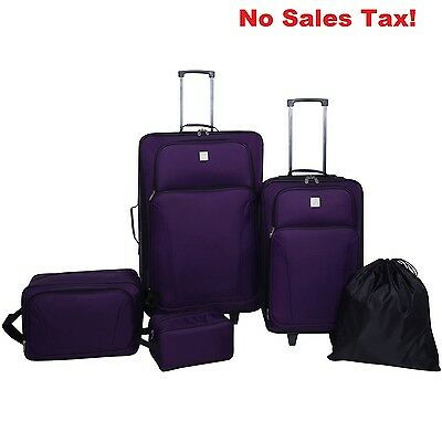 Purple Luggage Set Protege 5 Piece Travel Suitcase Utility Bag Rolling Trolley