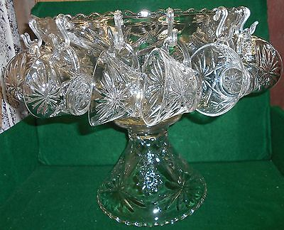 EAPC Pedestal Punch Bowl Set with 12 Glasses by Anchor Hocking/ Star of David