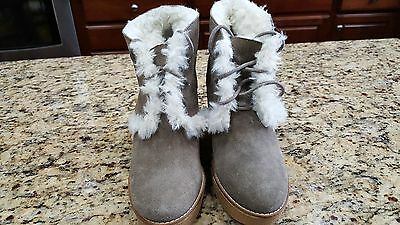 NEW GAP Womens Suede Leather Boots lace up tan brown Gwen Shearling warm 7