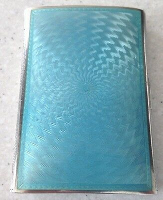 Stunning Art Deco Silver and Guilloche Enamel London Import Cigarette Case