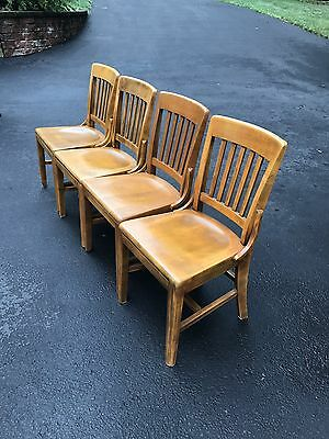 4 Vintage Antique Wood Wooden Gunlocke Office Chairs