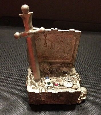 Vintage Spoontiques MR839 Pewter and Crystal Treasure Chest with Sword and Skull