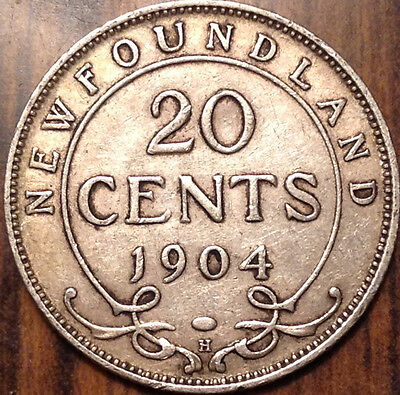 1904 Nfld Newfoundland Silver 20 Cents Twenty In Excellent Condition !