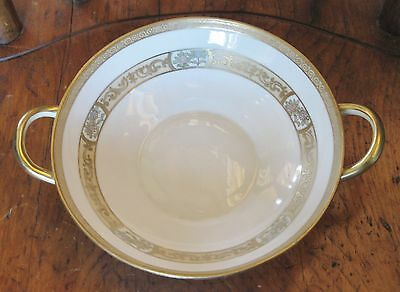 Antique Nippon Handled Serving Bowl Gold & Floral Decoration 7""