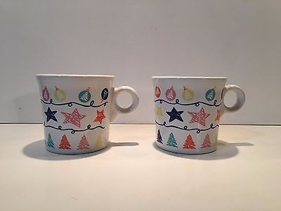 Rare Homer Laughlin Fiesta Holdiay / Christmas Mugs for the Mercantile Stores