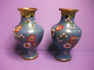 """Pair of Small Blue Floral Cloisonne Vases - 4"""" High"""