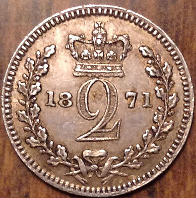 1871 Uk Gb Great Britain Silver Maundy Twopence In Excellent Condition !