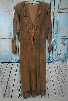 Vintage fringed brown leather suede native american dress size 10