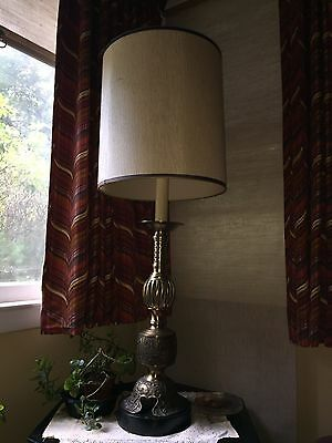 Vintage table lamp bronze color with Israeli designs