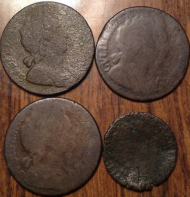 1600S Uk Gb Great Britain Lot Of 3 Halfpenny + 1 Farthing Lot Of 4 Coins !