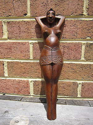 """Carved Nutcracker Nude Tribal Woman Pacific 14.5"""""""