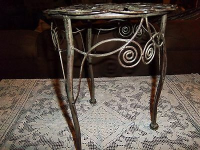 """Plant-statue stand -vintage, ornate, metal, 20.5 """" high-9.5 """" across"""
