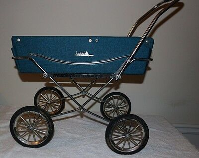 King Fisher Vintage Baby Carriage stroller blue toy doll holder bed
