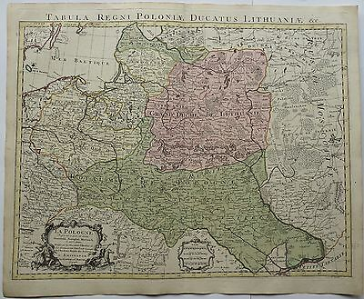 Poland 1741 Original Antique Map Lithuania Latvia Russia Belarus Baltics Delisle