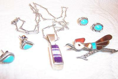 Sterling Silver Turquoise Native American Jewelry Lot Roadrunner Pin & MORE