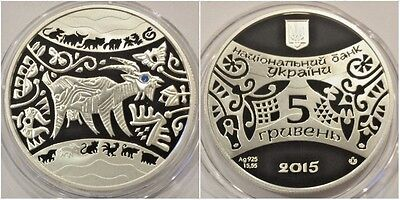 2014 Ukraine 5 Hryvnias Silver Proof Coin Chinese Calendar Year of the Goat