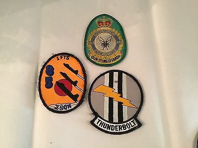 Vintage Lot 3 Military US Air Force Patches Squadron Fighter Thunderbolt