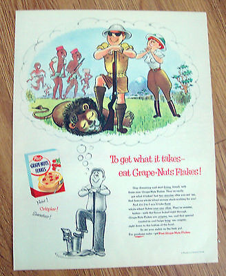 1955 Post Grape-Nuts Flakes Cereal Ad  To get What it Takes East Grape-Nuts
