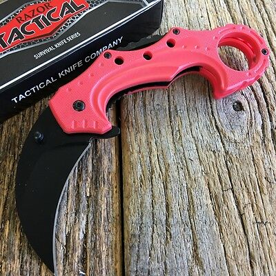 Red Karamabit Finger Hole Spring Assisted Open Pocket Knife Tactical -F