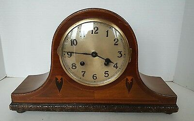 Large Napoleon Hat Mantel Clock with lovely inlaid detail.