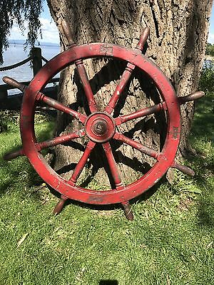 """Large 47"""" Antique Ship's Wheel From Boston"""