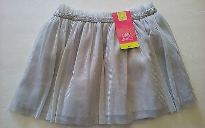 $12 Okie Dokie Girls Lined Scooter Skirt Size 4T Silver Metallic NWT