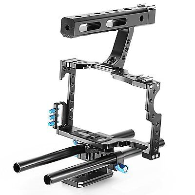 YELANGU Camera Cage + Top Handle Grip 15mm Rod for GH4, GH3, SONY A7S, A7SII